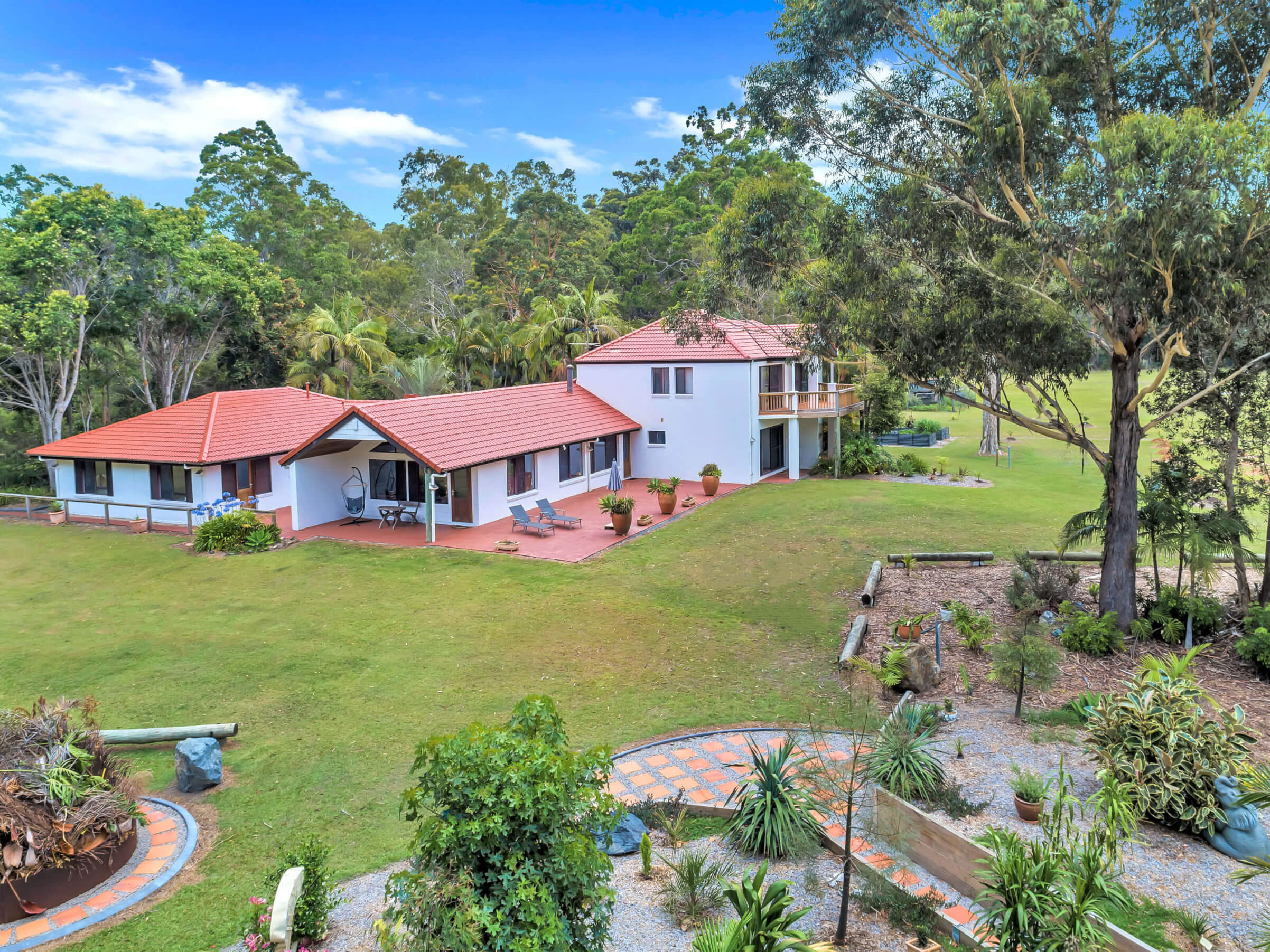 Property Aerial with Garden front